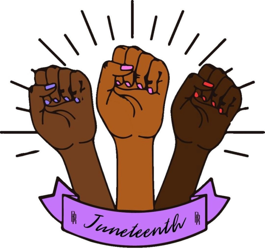 Three fists with brown skin of varying tones and nail polish of varying hues lifted in solidarity for Juneteenth.